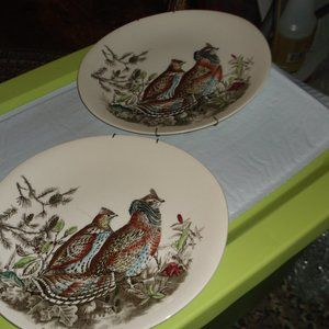 vintage set of 2 ruffled grouse plates